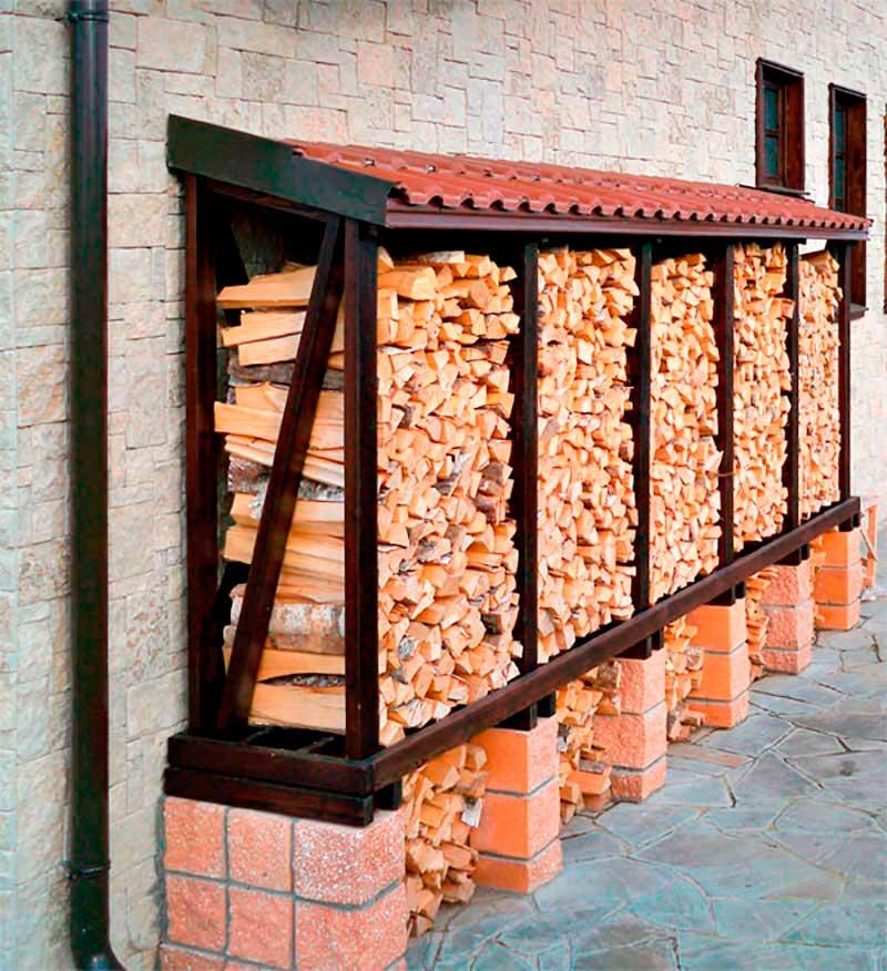 Навес для хранения дров своими руками